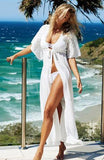 Floral Embroidery Cover Up Robe De Plage - Lizachic