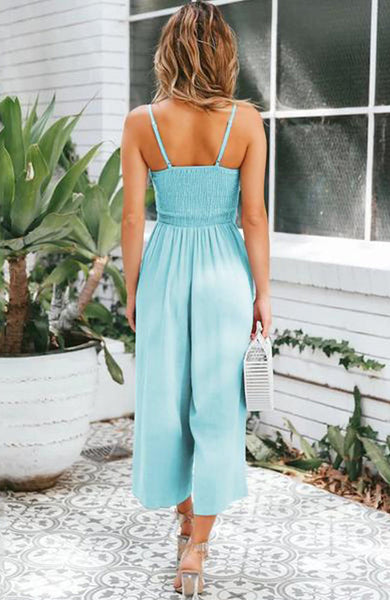 Elegant Bow Cutout Elastic Backless Loose Adjustable Jumpsuit - Lizachic