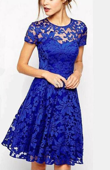 Elegant Sweet Hallow Out Lace Dress - Lizachic