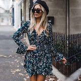 Sexy Elegant Short Floral Print Long Sleeves Ruffle Mini Dress - Lizachic