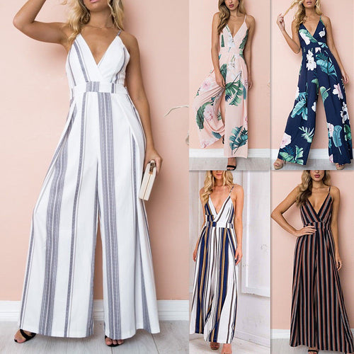 2018 Fashion Women Jumpsuit Sleeveless Striped Jumpsuit Summer Romper Wide Leg Trousers Womens V-neck Casual Clubwear Outfits - Lizachic