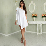 Stylish Elegant Evening Dress Neckline One Sleeve Irregular Hem Dress - Lizachic