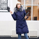 Warm Hooded Women Coat Faux Fur Collar Long Jacket Elegant Chic Parka - Lizachic