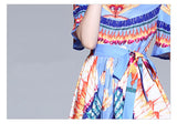 Retro Print Short Sleeves Ruffles Loose Casual Lady Sarafan Long Dress - Lizachic