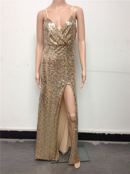 Monica Gold Sequin Sexy Backless Xmas Dress - Lizachic