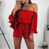 Sexy Chiffon Off Shoulder Backless Loose Shorts Playsuit - Lizachic