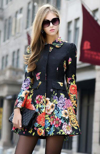 Elegant Chic Floral Printed Trench Long Sleeve Medium-Long Causal Coat - Lizachic
