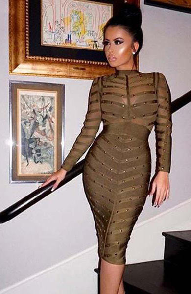 Sexy Bandage Bodycon O Neck Netted Beaded Long Sleeve Knee Length Dress - Lizachic