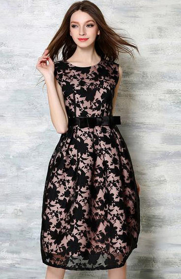 Sexy Floral Bow knot Elegant O-Neck Sleeveless Jacquard Midi Dress - Lizachic