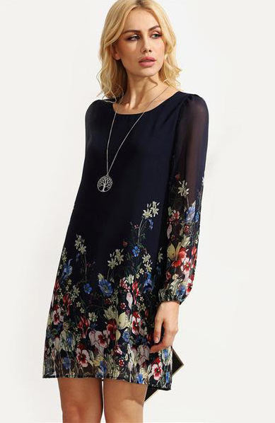 Casual Boho O Neck Flower Print Chiffon Dress - Lizachic