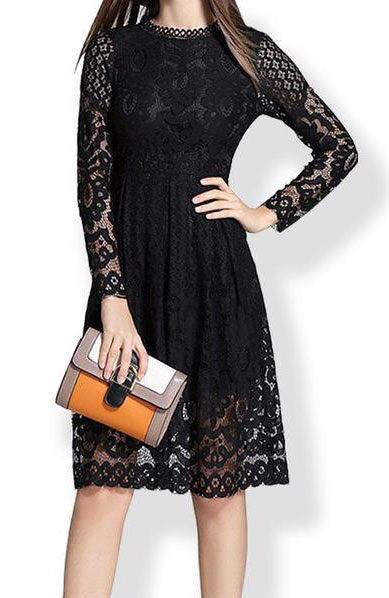 Casual Bohemian Lace Crochet O Neck Long Sleeve Dress - Lizachic