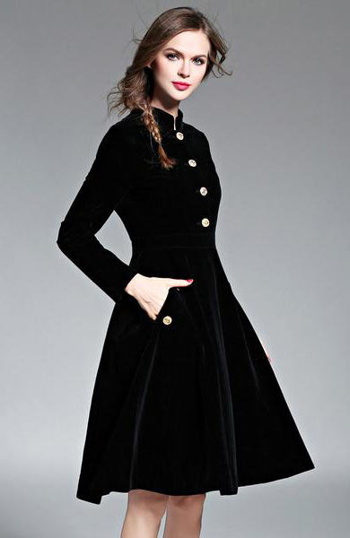 Elegant Velvet Vintage Stand Collar Long Sleeve Mid Calf Dress - Lizachic