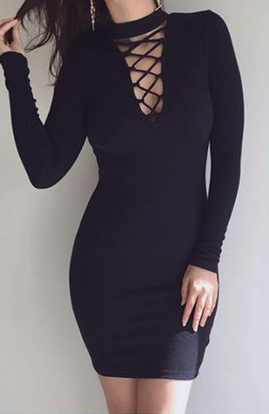 Sexy New High-Necked Cross-Strait Tight Mini Dress - Lizachic