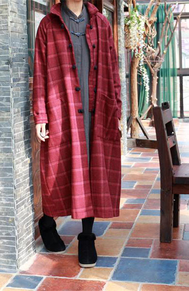 Casual Vintage Elegant Women Woolen Blazer Blankets Pockets and Buttons Coat - Lizachic