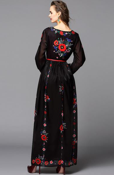 Fashionable Lanyards Sleeve Flower Printed Vintage Maxi Long Dress - Lizachic