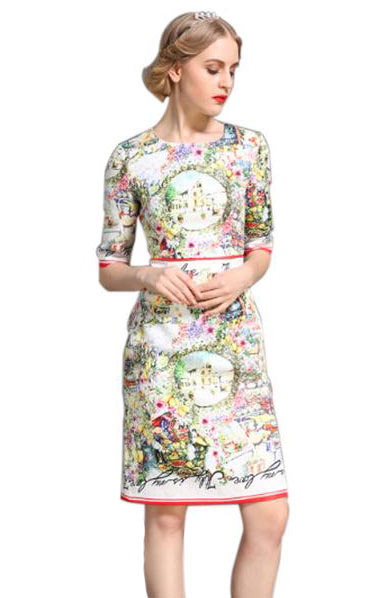 Elegant Vintage Colorful Printed Slim Straight O Neck Jacquard Dress - Lizachic
