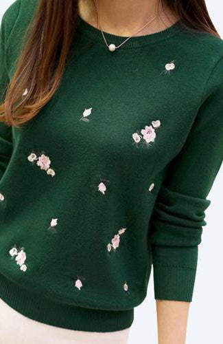 New Season Embroidery Knitted Pullover Sweater Jersey Jumper - Lizachic