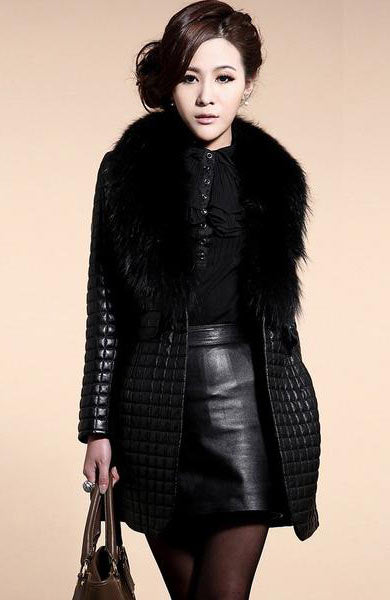 New Style Faux Fur Black Long Sleeve Leather Outerwear Long Jacket - Lizachic