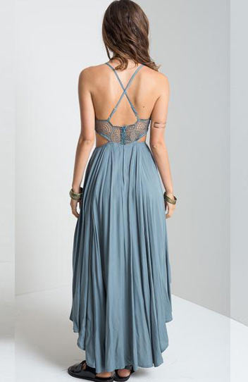 Sexy Backless V Neck Lace Mesh Sleeves Bohemia pleated Dress - Lizachic