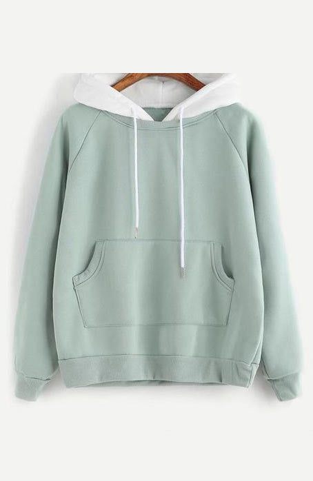 Raglan Long Sleeve Cute Contrast Hooded Sweatshirt Pocket Drawstring Hoodies - Lizachic