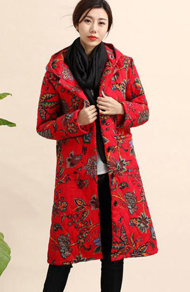 Casual Slim Parka Long Print Jacket Warm Hoodie Coat - Lizachic
