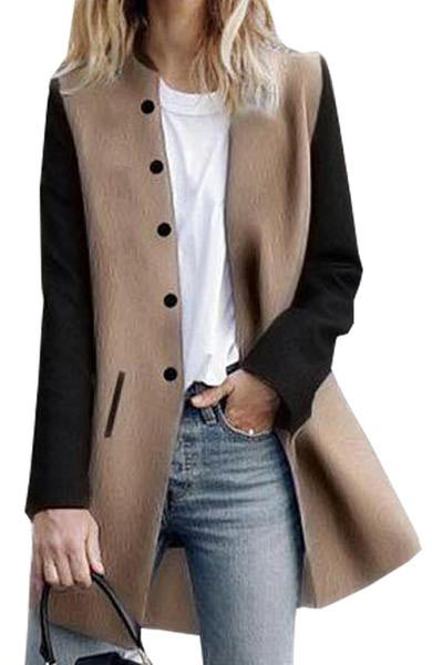 Casual Long Sleeve Warm Turndown Stand Collar Button Pocket Overcoat - Lizachic