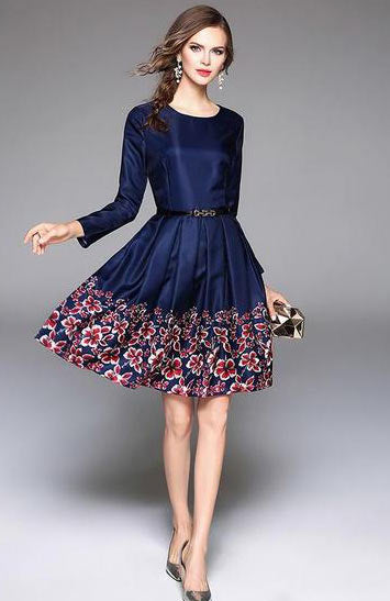 Elegant Floral Blue Print Princess O Neck Long Sleeves On Knee Dress - Lizachic
