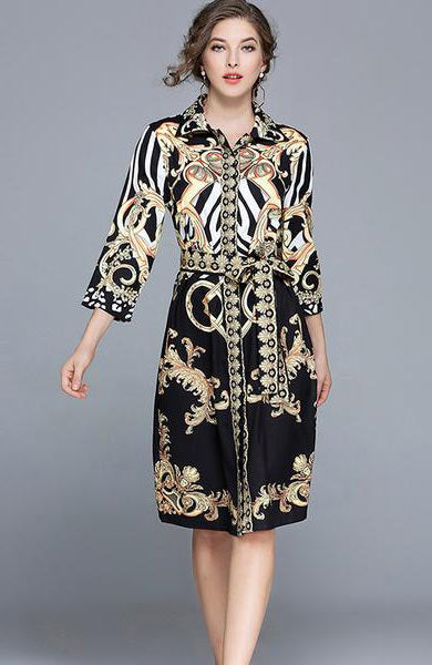 New Vintage Printing Turn-Down Collar Three Quarter sleeve Knee-Length Dress - Lizachic