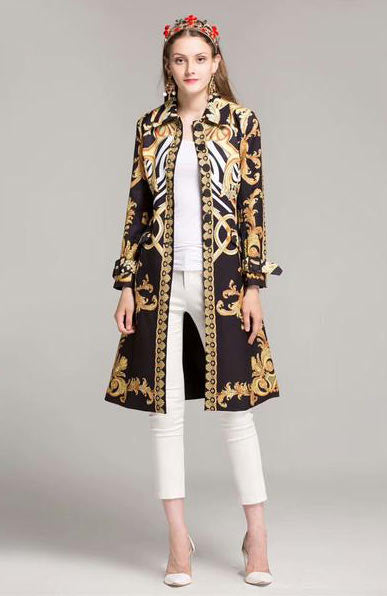 Elegant Floral Pattern Print Sashes Vintage Single Breasted Long Coat - Lizachic