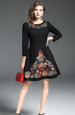 New Season Casual Embroidery Floral Wrist Sleeve Mini Party Dresses - Lizachic