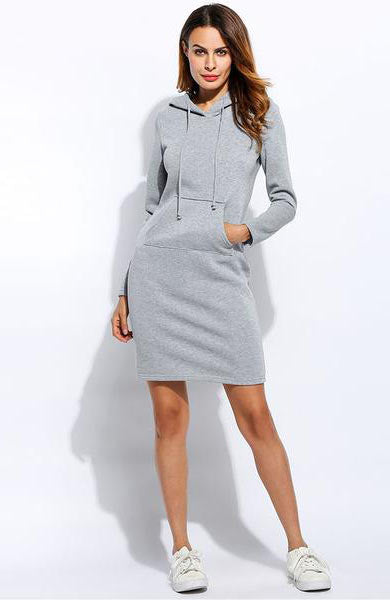 Casual Vestidos Hoodie Sweatshirt Drawstring Full Sleeve Fleeces Dress - Lizachic