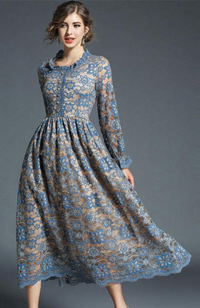 Elegant Floral Lace A Line Hollow Long Sleeves O-Neck Long Dress - Lizachic