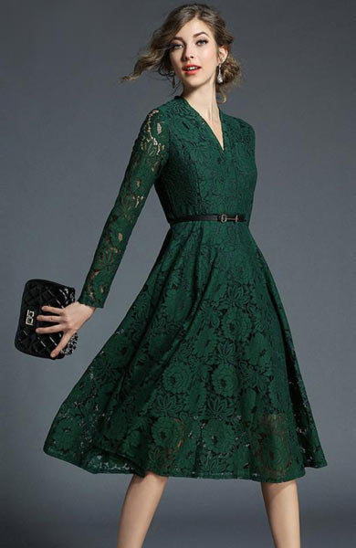 Elegant Floral V-Neck Green Lace Princess Long Sleeves On Knee Dress - Lizachic