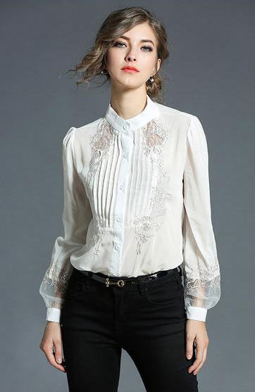 Elegant Stylish O Neck Chiffon Embroidery Lantern Long Sleeve Blouse - Lizachic