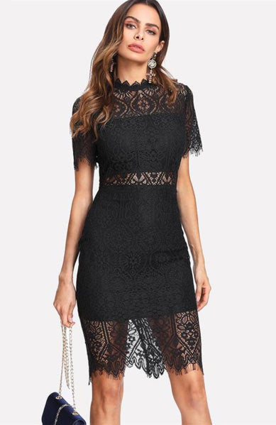 Elegant Lace Embroidery O-Neck Short Sleeve A-Line Mid Calf Dress