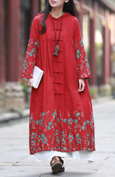 Chic Embroidery Vintage Long Duster Hooded Coat - Lizachic