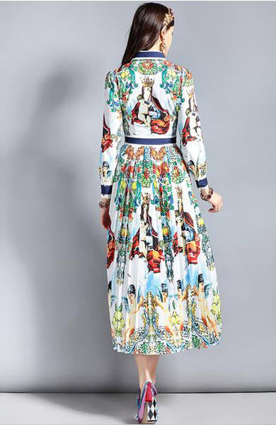 Elegant Pleated Floral Pattern Printed Mid-Calf Long Sleeve Dress - Lizachic