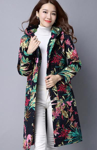 Casual Printed Hooded Long Padded Cotton Coat - Lizachic