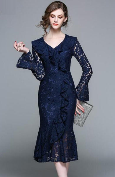 Elegant Floral Lace Lotus Leaf Long Sleeves Bodycon Knee Length Dress - Lizachic
