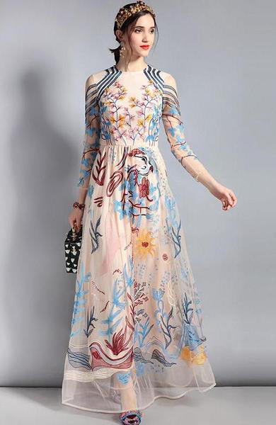 Chic Lace Tulle Mesh Floral Embroidery Long Sleeve Floor Length Dress - Lizachic