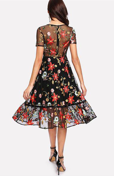 Elegant Short Sleeve Multicolor Floral Flare Embroidery Mesh Ruffle Dress - Lizachic