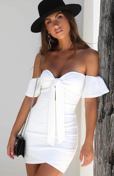 Elegant Off Shoulder Bow Knot Sexy Deep V Neck Ruffle Pencil Skinny Mini Dress - Lizachic