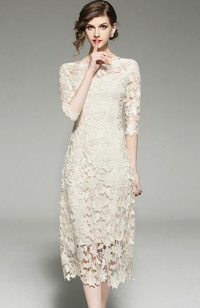 Elegant Retro Lace O Neck Vintage Mid Calf Party Dress - Lizachic