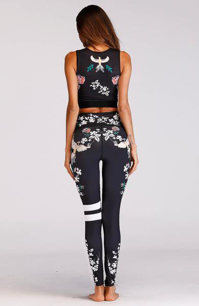 Sexy Flower Print Fitness Elastic Hollow Out Crop Top And Legging Set - Lizachic