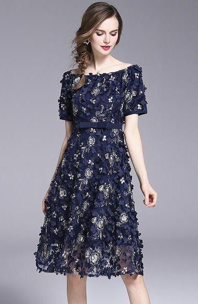 Elegant Handmade Flower Embroidered Slash Neck Vintage Midi Dress - Lizachic