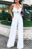 Elegant Sexy Crisscross Cut Out Bandage Backless Wide Trousers Jumpsuit - Lizachic