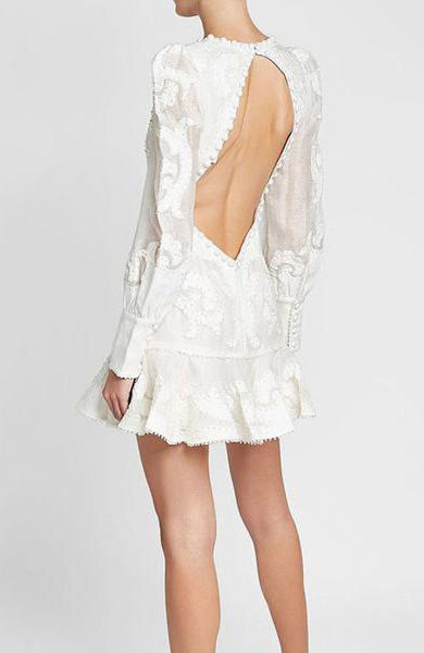Long Sleeve V-Neck Backless Embroidery Mermaid Ruffles Mini Dress - Lizachic