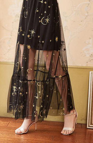 Elastic Waist Embroidered Mesh All-match Elegant Skirt - Lizachic