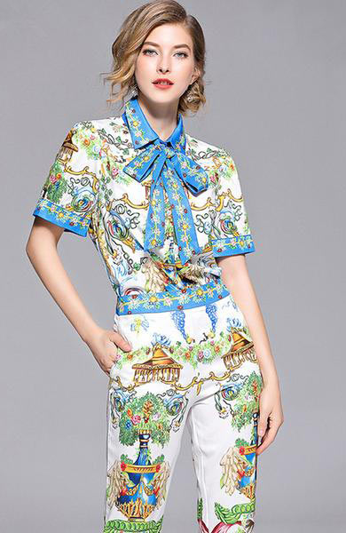 Chic Flower Print Short Sleeve Bow Collar Blouse Pencil Pants Set - Lizachic