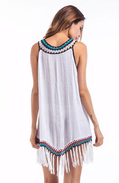 Sexy Long Sleeveless Embroidery Patchwork Tank Top Bohemian Tassel - Lizachic